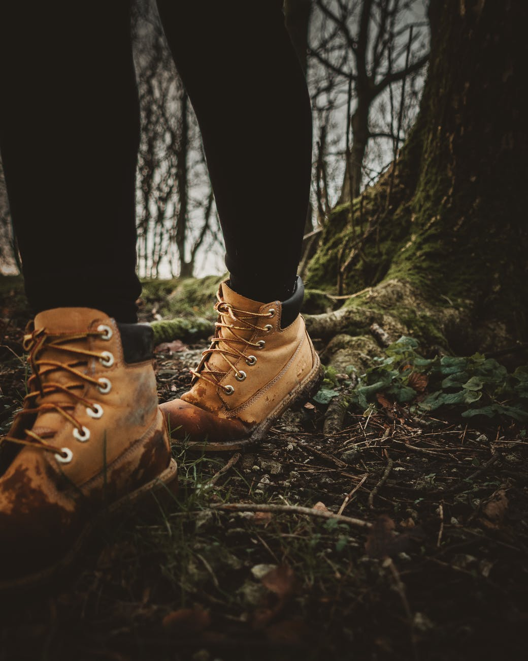 person wearing brown leather hiking boots standing on brown dried leaves