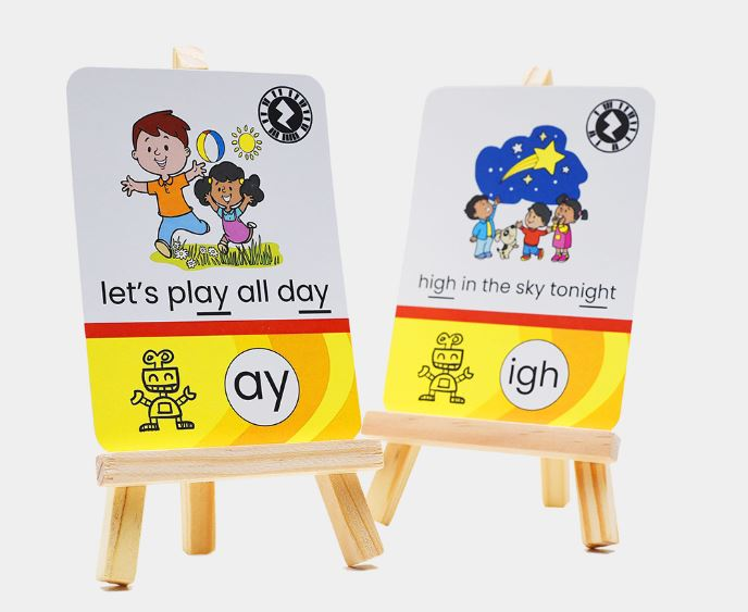 Close up of two Carter's Yard augmented reality talking phonics flashcards
