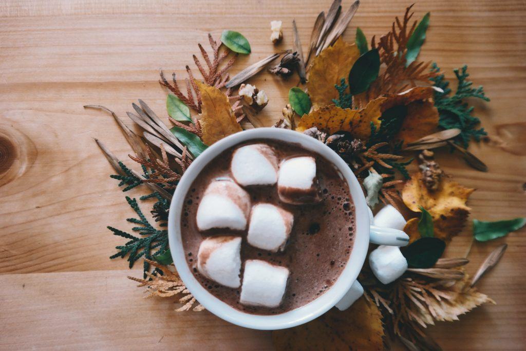 Autumn themed coffee with marshmallows