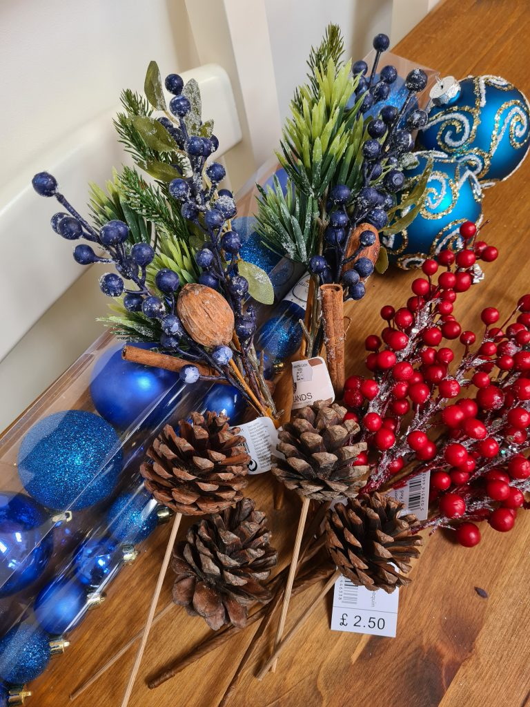 Navy blue themed rustic Christmas decorations
