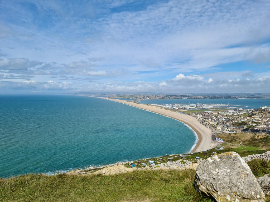 View of Chesil Beach and Weymouth from Isle of Portland
