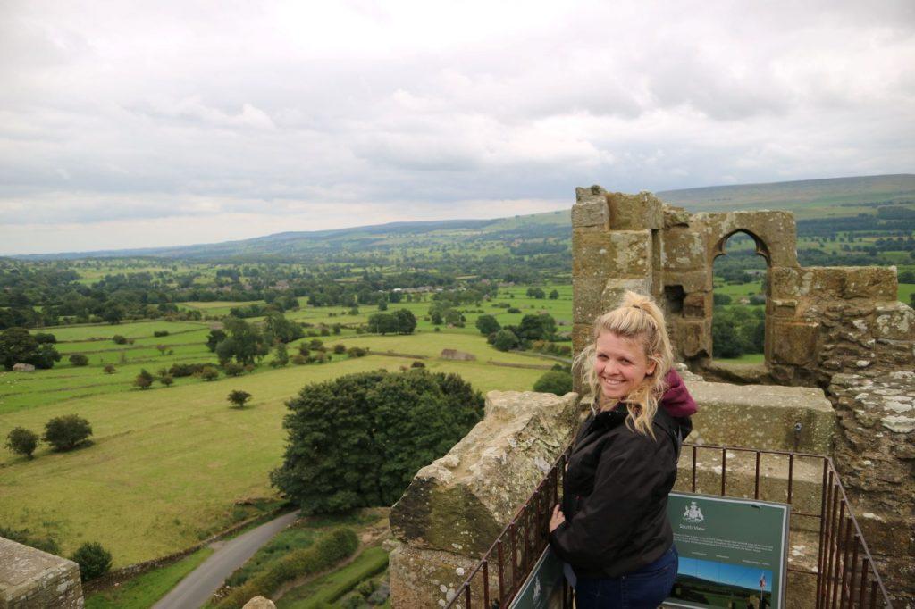 Woman on Bolton Castle Battlements