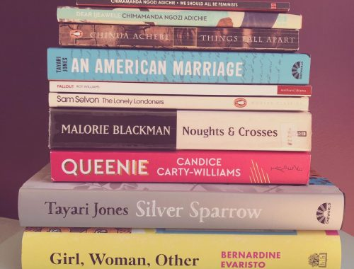 Pile of books written by black authors