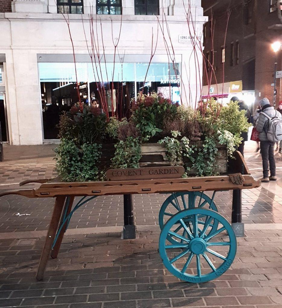 Flower wheelbarrow in Covent Garden