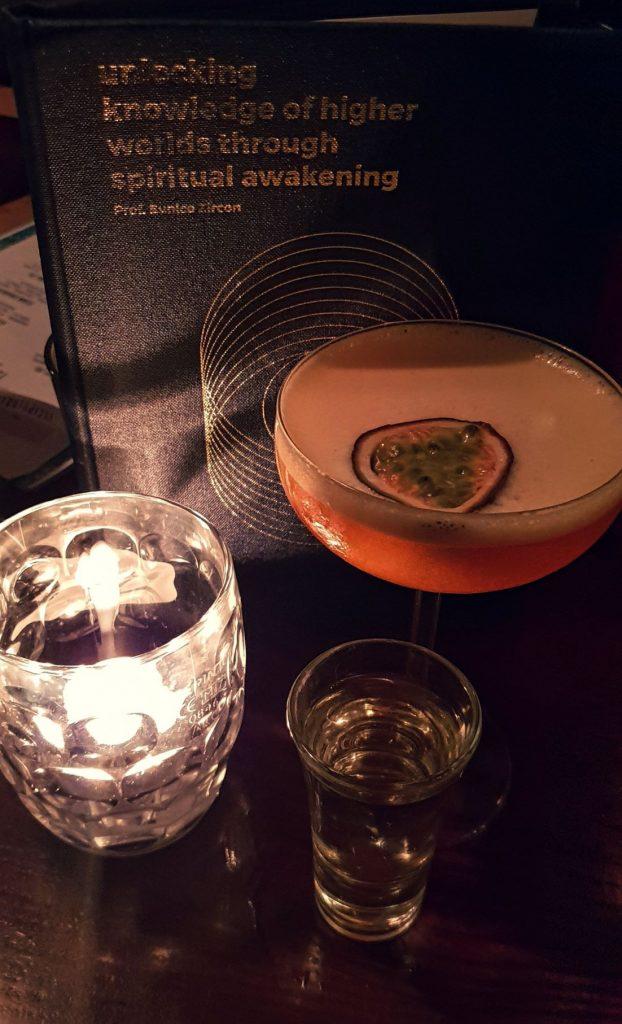 The Escapologist menu and Pornstar Martini
