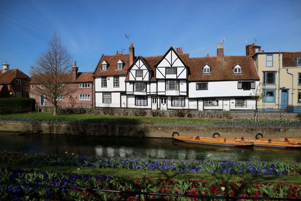 Old Tudor style buildings along the Great Stour in Canterbury