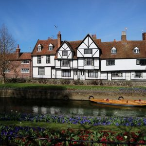Canal in Canterbury, with Tudor style houses on the far bank