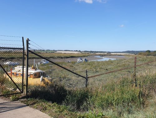 Wire fencing in front of marina at low tide