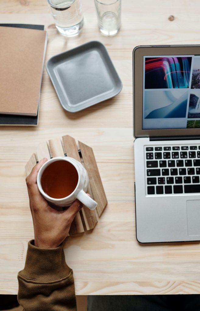 tea while creating a lifestyle blog