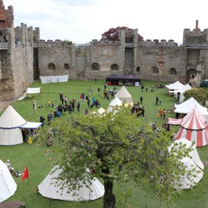 View of Framlingham Castle courtyard space from outer walls